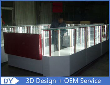 ประเทศจีน Customize made white wooden tempered glass mobile kiosk for sale โรงงาน